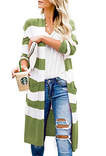 Maglie A Maglia Due Women Comodo Giovane Lunga Lunghi Maglioni Stripe Elegante Tasche Grün Autunno Donna Swag Streetwear Giacca Giubotto Pantaloni Manica Dei wxHaZqx