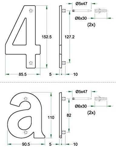 pulido con PVD /öberfl/äche de protecci/ón lat/ón geschmied 110/mm de altura Letra C para n/úmero de casa