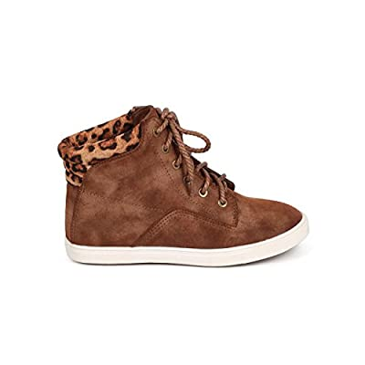 Women Leopard Suede Rope Lace Up High Top Sneaker DA72 - Brown | Boots
