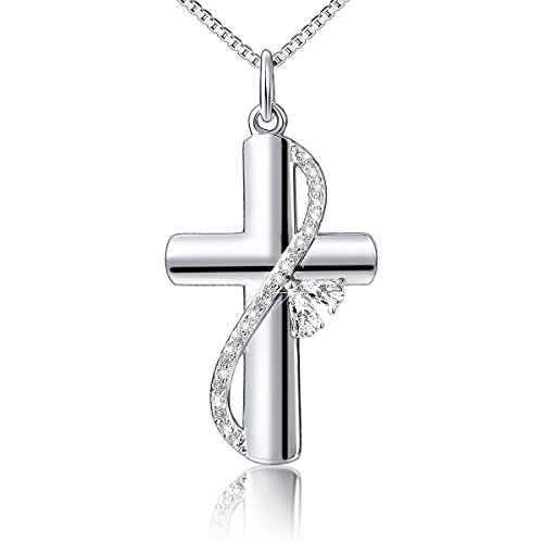 Cross Necklace 925 Sterling Silver Heart Cz Faith Hope Love Cross Pendant Necklace for Women Girls, Box Chain 18