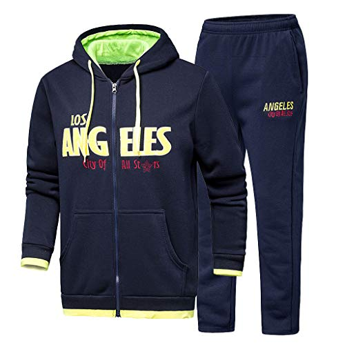 (Mens Los Angeles Letter Print Hooded Sweatshirt Sets Sport Suit Tracksuit)