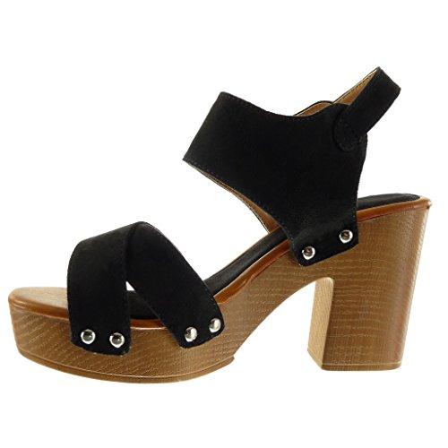 Angkorly - Zapatillas de Moda Sandalias Mules zapatillas de plataforma abierto mujer tanga tachonado madera Talón Tacón ancho alto 9.5 CM - Negro
