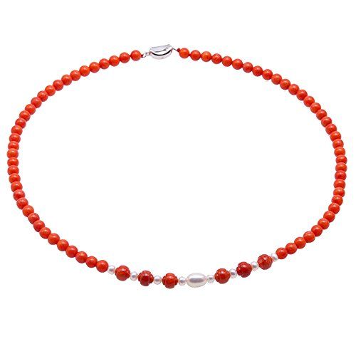 JYX Single Strand Coral Beads Necklace Natural 3.5-5.5mm Orange Coral Beads and freshwater Pearl Jewelry for Women (5-5.5mm/19