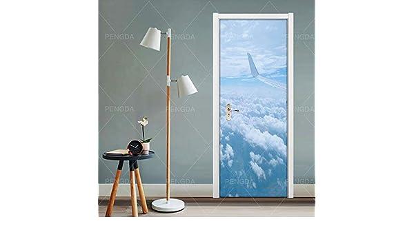 YWGMT 3D Puerta Pegatinas Posters Avión Cielo Paisaje 88X200Cm ...