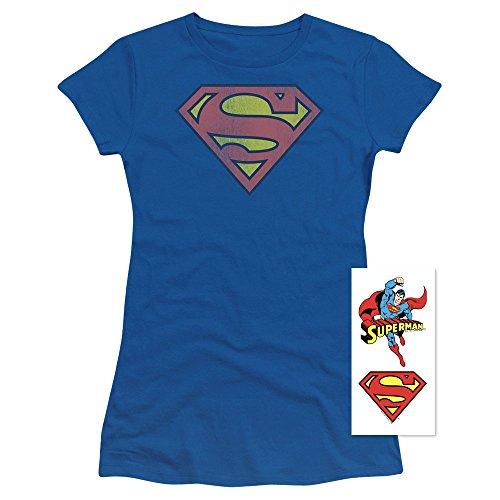Popfunk Superman Logo Distressed Juniors T Shirt (XX-Large) for $<!--$23.99-->