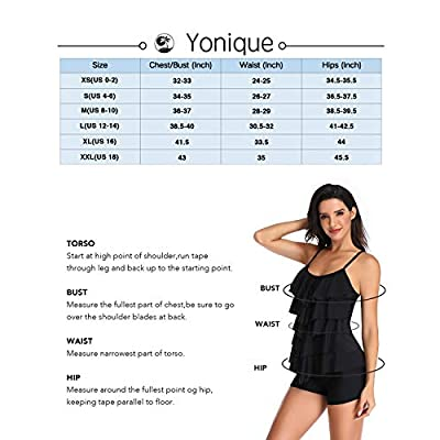 Yonique 3 Piece Athletic Tankini Swimsuit for Women Sport Swimwear with Boyshort Tank Top with Bra and Shorts: Clothing