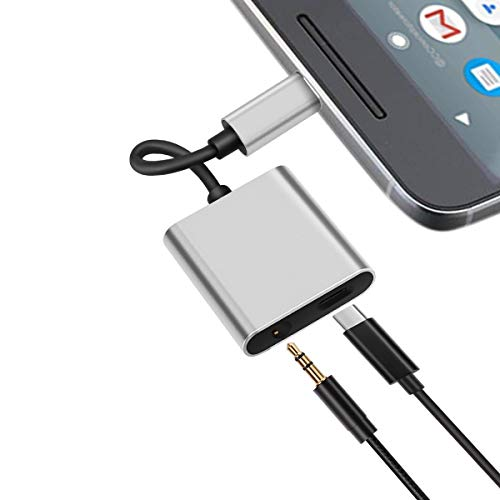 Pixel 2 Headphone and Charger Adapter, Autynie 2 IN 1 USB-C to 3.5mm Aux port with Type-C Fast Charging Port for Pixel 3/2/XL, New iPad, Essential Phone and More-Support DAC and Hi-Res Music (Silver)