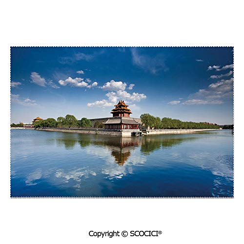 SCOCICI Set of 6 Durable Polyester Place Mats Heat Resistant Table Mats Historical Architecture Imperial Palace Trees Sea Blue Sky Decorative for Party Kitchen Dining Table