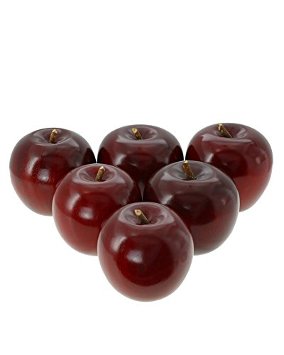 Decorative Apple - Guatemalan Artisan Wooden Hand Painted Apples Pack of 6 (6, Red)