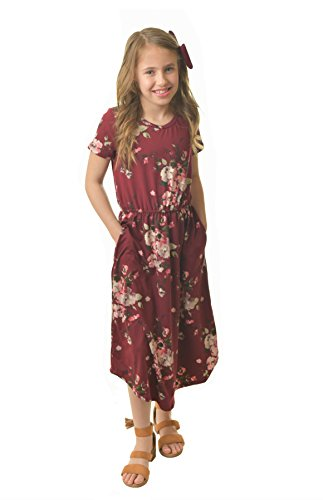 Chrome Classic Girls Midi Floral Dress w/Short Sleeves Made in The USA (Maroon, Small) ()