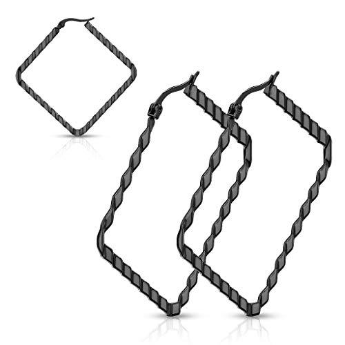 MoBody One Pair Womens Wave Pattern Square Hoop Earrings Surgical Steel Diamond Shaped Geometric Cube Hoop Earrings for Sensitive Ears (Black)