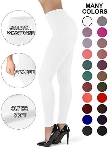 (Satina High Waisted Leggings for Women | New Full Length w/Stretch Waistband | Ultra Soft Opaque Non See Through (OneSize, White))