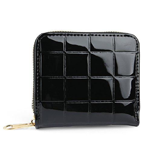 Wallet Purse for Women Lady Girl Zip Around Mini Handbag with Coin Pocket (Black) (Pouch Zip Around)
