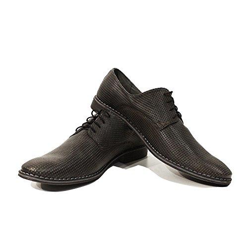 PeppeShoes Modello giustino - Handmade Italiano da Uomo in Pelle Grigio Scarpe da Sera - Vacchetta Pelle in Rilievo - Allacciare