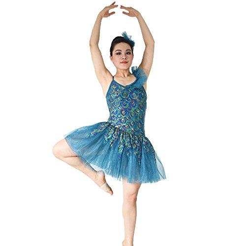 [MiDee One Shoulder Ruffle Sequined Leotard Hem Tiered Ballet Costumes Dance Dress (MA, Blue)] (Dance Costumes Ma)