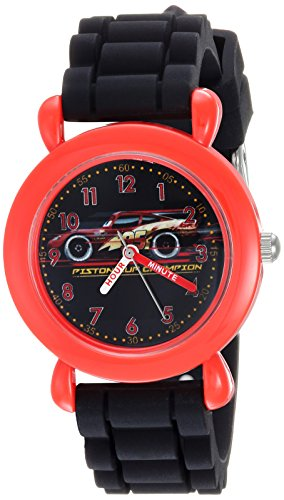 Disney Boy's 'Cars 3' Quartz Plastic and Silicone Casual Watch, Color:Black (Model: WDS000449)