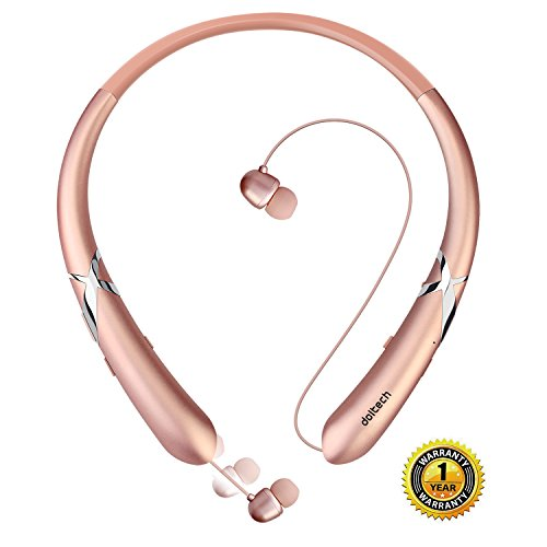 Bluetooth Headphones DolTech Retractable Earbuds Neckband Wireless Headset Sport Sweatproof Earphones with Mic for iPhone Android Cellphone (Retractable Earbud Headphones)