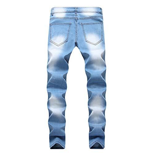 Hippie Pantalón Vaqueros de Bolsillos Harem con Fit Jeans Pantalones Claro Pantalones Deportivos Hombres Pantalones Slim Azul Skinny Rotos Largos Tapered AgqwgXa