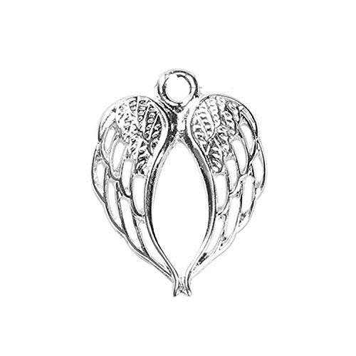 (DLNCTD Zinc Based Alloy Pendant Wing Silver Color Charms Jewelry DIY Components Findings 22mm(7/8