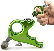 Archery Bow Release Aids 3 Finger Hand Held Bow Release Aluminum Alloy 3 Finger Grip Thumb Trigger Caliper Com
