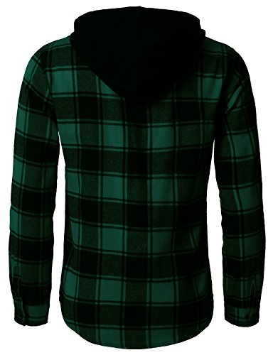 H2H Mens Casual Flannel Shirts Hoodie Jacket Green US XL/Asia 2XL (CMOJA0105) by H2H (Image #4)