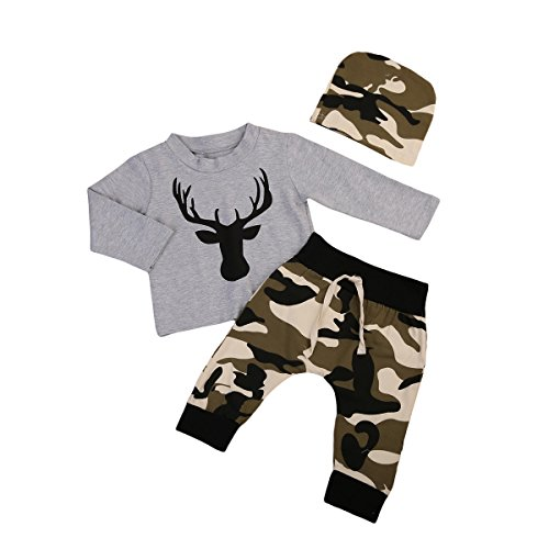 Newborn Baby Boy Deer Printed Grey Tshirt Top Camouflage Pants Hat 3Pcs (6-12 Month, Grey)