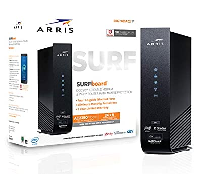 ARRIS SURFboard (24x8) DOCSIS 3.0 Cable Modem Plus AC2350 Dual Band Wi-Fi Router, 1 Gbps Max Speed, Certified for Comcast Xfinity, Spectrum, Cox & more (SBG7400AC2)