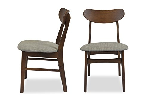 Mid-Century Modern Dining Chairs SET OF 2 by Edloe Finch – Upholstered, Light Grey Fabric