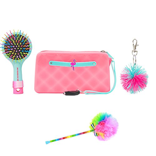 American Jewel Glow in the Dark Fun Set with Silicone Wristlet, Brush Pom Keychain Accessory