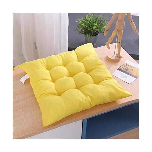 Bledyi, cuscino quadrato, comodo e resistente, per sedie da pranzo, da giardino, 40 x 40 cm Giallo. 7 spesavip