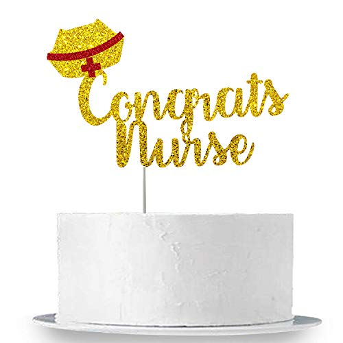 Congrats Nurse Cake Topper, Gold and Red - Real Glitter, Large Size | Nurse Graduation Party Decorations | Nursing Graduation Party Supplies 2019 | RN Nurse Party Decorations | Nurse ()