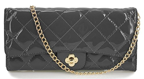 Quilted Patent Leather Clutch - 4