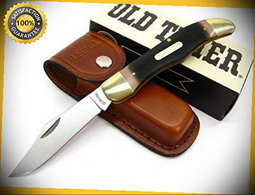 Old Timer Sawcut Mustang Straight Folding Pocket Sharp Knife with Sheath 125OT perfect for outdoor camping hunting (Cummins Pocket Knife)