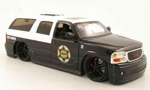 GMC Yukon Denali Tuning, State Trooper, Polizei (US), 2002, Modellauto, Fertigmodell, Jada 1:24 by GMC Instruments