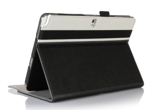ProCase Premium Folio Bluetooth Keyboard Case for Samsung Galaxy Tab PRO 10.1 Tablet (SM-T520) and Galaxy Note 10.1 2014 Edition (SM-P600) - with Slim Detachable Wireless Keyboard (Black/White)