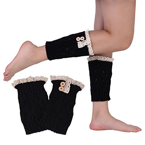 1 Para Bein Stulpen Damen, Doppelknopf Kurze Bein Knöchel Strickwärmer Spitze Trimmen Stiefel Zubehör(Grau) Schwarz