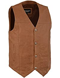 Men's Western Style Leather Vest w/Buffalo Snaps & Interior Gun Pockets (Brown & Saddle Colors)