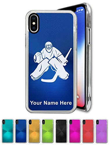 Case Compatible with iPhone XR, Hockey Goalie, Personalized Engraving Included (Personalized Iphone Hockey)