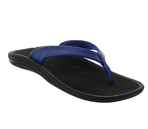 UPC 883956186970, OluKai Kulapa Kai Sandal - Women's Blue Hawaiian / Black 6