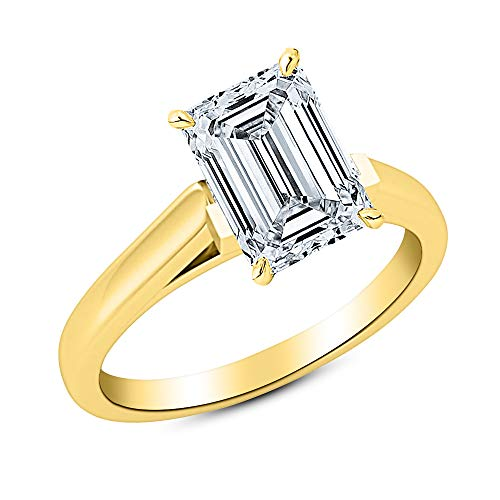 - 0.5 Carat 14K Yellow Gold Emerald Cut Cathedral Solitaire Diamond Engagement Ring H-I Color SI1 Clarity