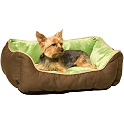 "K&H Pet Products Self-Warming Lounge Sleeper Pet Bed Small Mocha/Green 16"" x 20"""