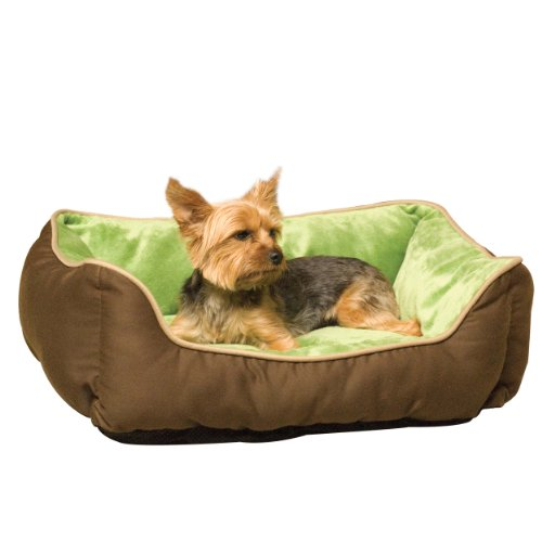 K&H Manufacturing Self-Warming Lounge Sleeper Pet Bed, Mocha/Green, Small ()