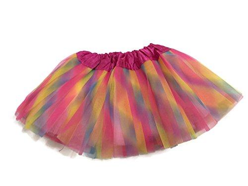 Toddler Rainbow Princess Fairy Costumes (Rush Dance Ballerina Infant/ Little Girls Princess Fairy Costume Recital Tutu (Infant (Newborn - 3 Years), Pink Rainbow))
