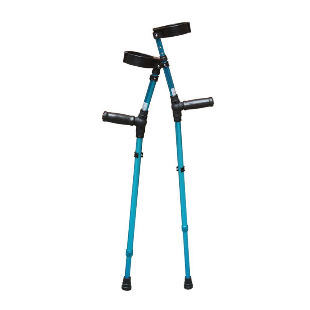 松葉杖アルミ合金製の歩行者滑り止め調整可能な老人用杖 (色 : 青)  青 B07H2YPCSH