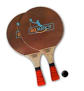 2 Professional Israeli Beach Racquet Matkot Paddles + Ball + Pro Hand Grip (Red)