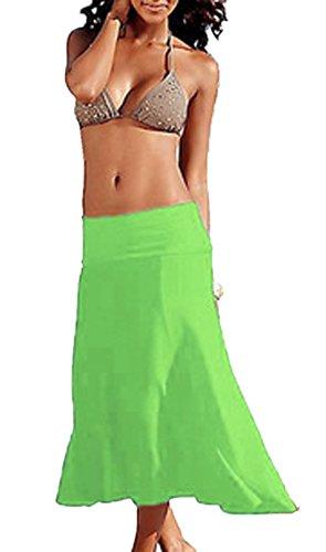 Bikini Casual Couleur Cover Up Vert Unie Femmes t Bandeau Midi Robes de Plage WYB0zqwB