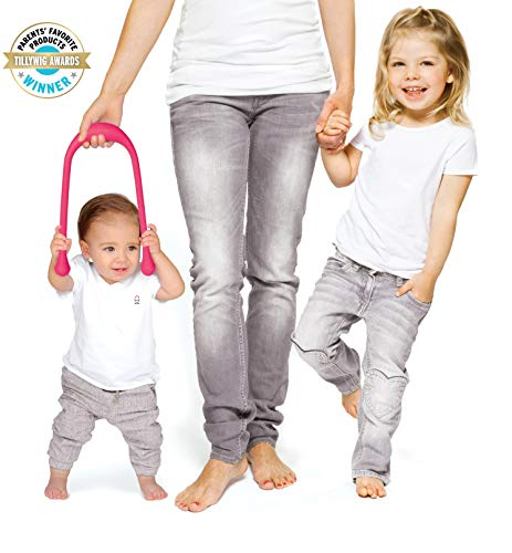 Tot2Walk Walking Aid For Babies - Child Aid For Their First Steps - Supports & Helps Kids During Their Learning Phase - Innovative Teardrop-shaped Handles For Better Grip - Phthalate & PVC Free (Pink)