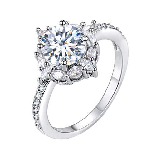- Xinantime Natural Silver Gemstone White Sapphire Birthstone Bride Engagement Wedding Ring (8, Silver)