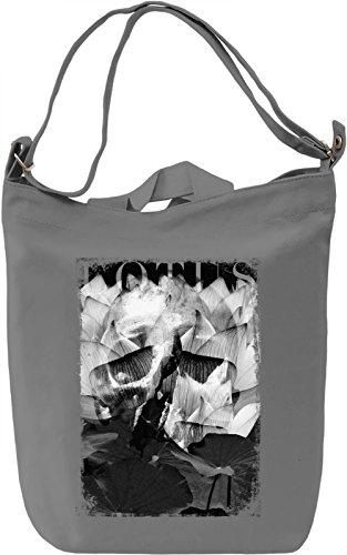 Lotus Skull Borsa Giornaliera Canvas Canvas Day Bag| 100% Premium Cotton Canvas| DTG Printing|