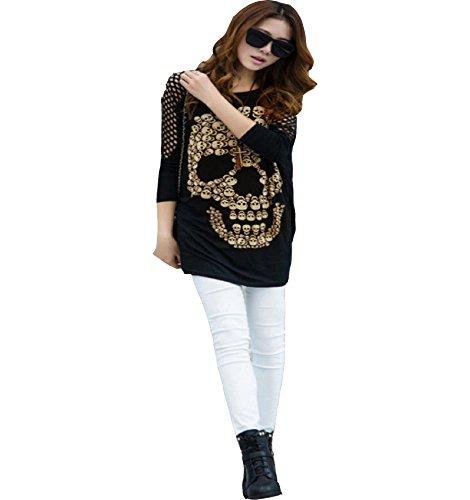 8121360c9 ... CHFF888 aaiii Mujer Elegante Suelto Hollowing Calavera Impresión  Batwing Manga Larga Baggy Top camiseta negro ...